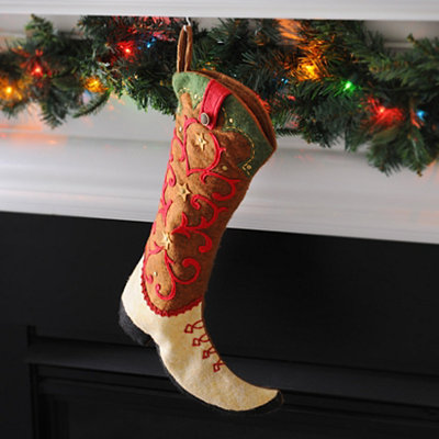 Cream & Brown Western Boot Stocking