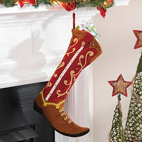 Red & Brown Western Boot Stocking