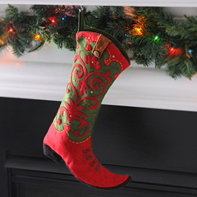 Red & Green Western Boot Stocking