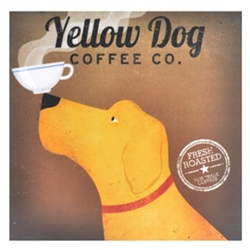 Golden Dog Coffee Canvas Art Print