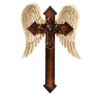 Angel Wings Cross Plaque
