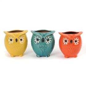 Ceramic Sunflower Owl Vase