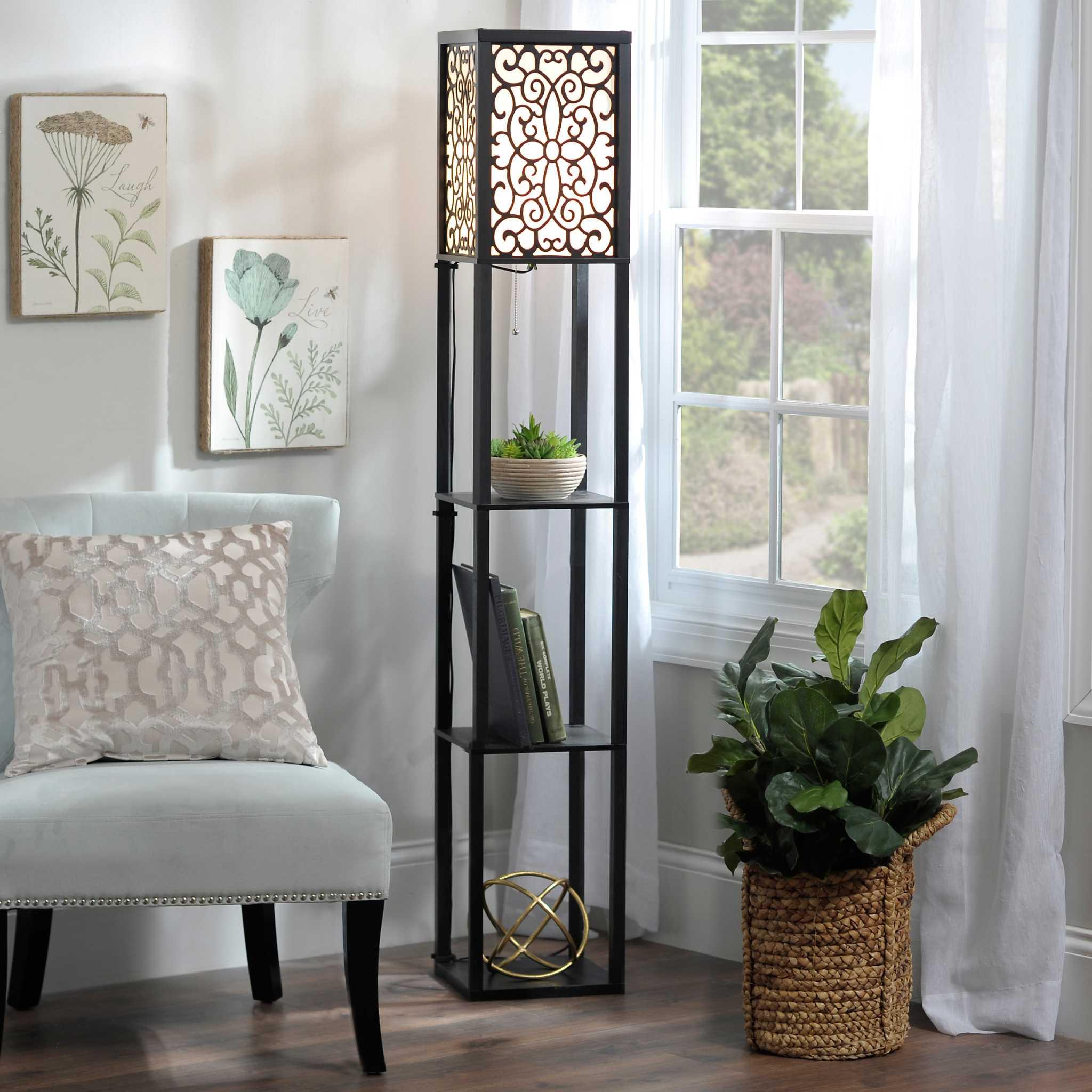 wallace shelf floor lamp kirklands. Black Bedroom Furniture Sets. Home Design Ideas