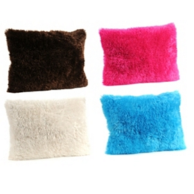 Fuzzy Faux Fur Accent Pillow