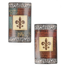Fleur de Lis and Scripture Metal Wall Art