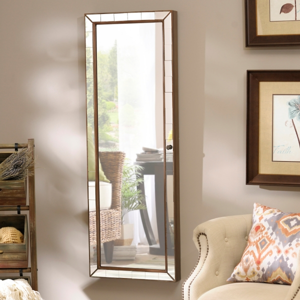 mirrored tile wall mounted jewelry armoire