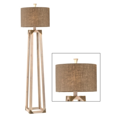 Industrial Wood Floor Lamp