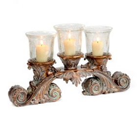 Crackle Glass 3-Candle Runner