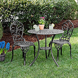 Fleur De Lis Cast Iron 3 Pc Bistro Set