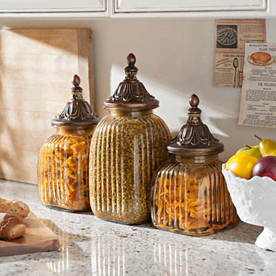 Antiqued Amber Canister, Set of 3