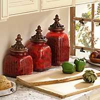 Red Glass Canister, Set of 3
