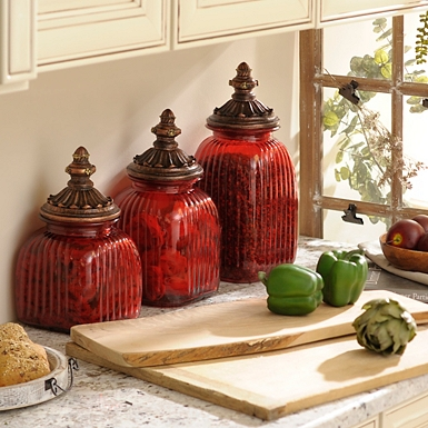 Red Glass Canister Set Of 3