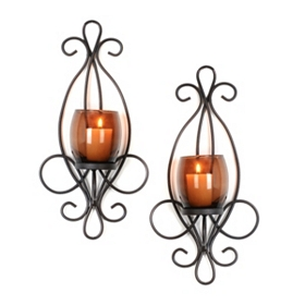 Metal Scrolled Brown Sconce, Set of 2