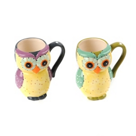 Colorful Ceramic Owl Mug
