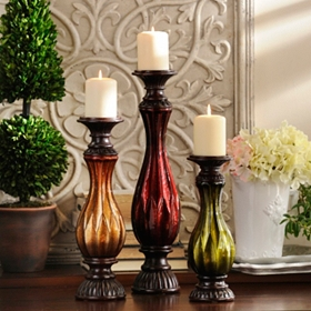 Handpainted Glass Candle Holder, Set of 3