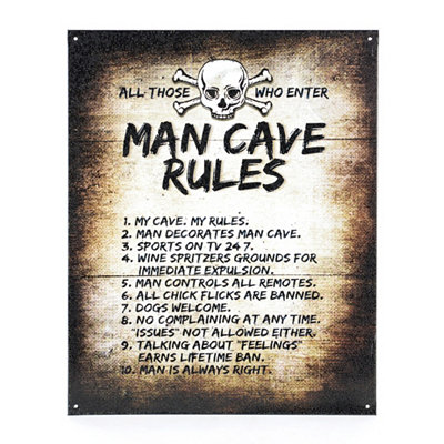 Man Cave Rules Tin Plaque