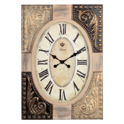 Antiqued Wood & Tin Clock