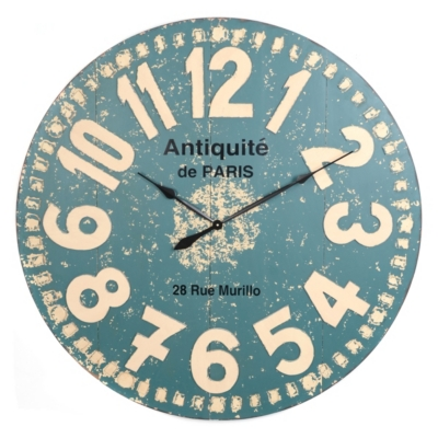 Distressed Blue Wood Clock