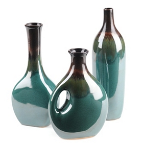 Tourmaline Fire Ceramic Vase, Set of 3
