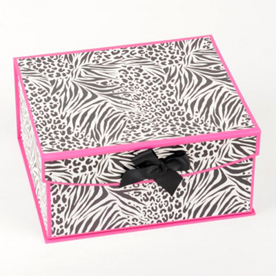 Black & Pink Zebra Storage Box, Small