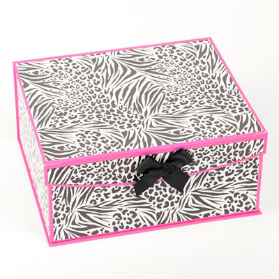 Black & Pink Zebra Storage Box, Medium