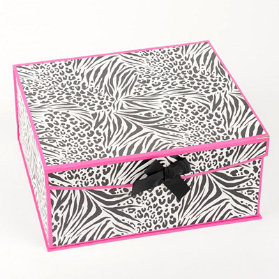 Black & Pink Zebra Storage Box, Large