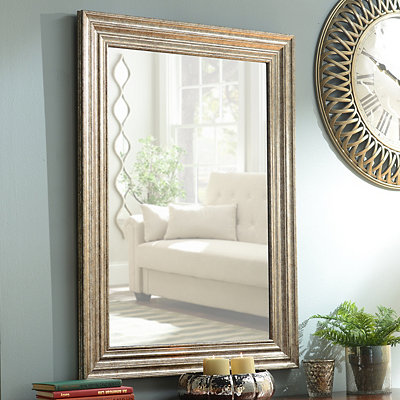Antique Silver Framed Mirror, 32x44 in.