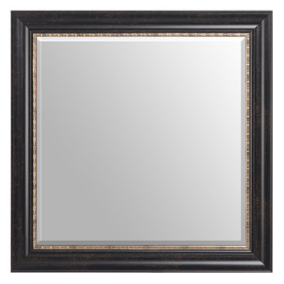 Gold Trimmed Espresso Framed Mirror, 30x30