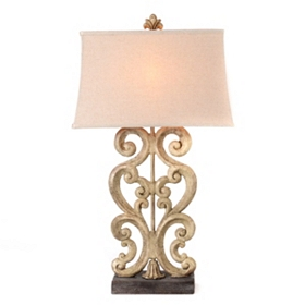 Cream Scroll Table Lamp