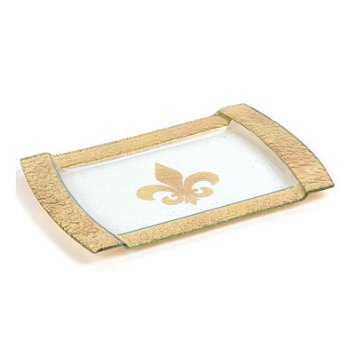 Gold Glass Fleur-de-lis Serving Tray
