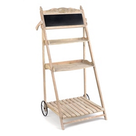 3-Shelf Wood Plant Stand with Chalkboard