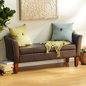 Brown Faux Leather Storage Bench