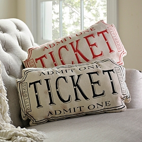 Movie Ticket Accent Pillow