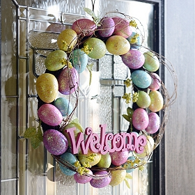Glitter Easter Egg Welcome Wreath