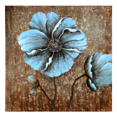 Blue Poppy Drip Canvas Art Print