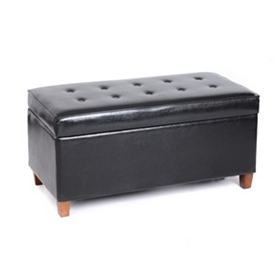 Elsa Black Faux Leather Storage Bench