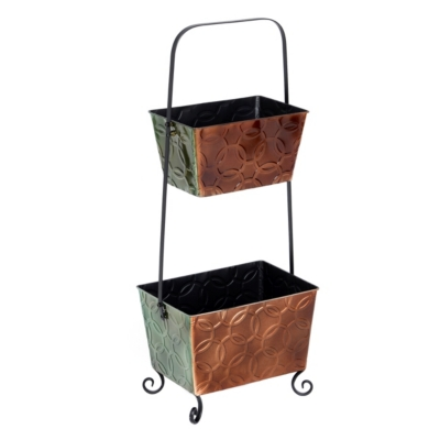 Double Bucket Metal Floor Rack