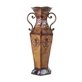 Embossed Fleur-de-Lis Metal Vase