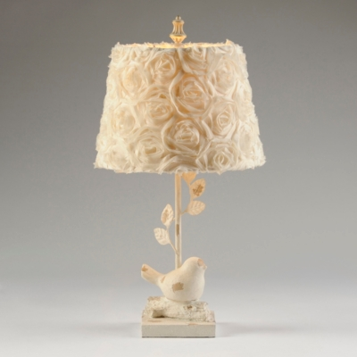 Rustic Roses & Bird Table Lamp