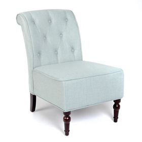 Blue Linen Slipper Chair
