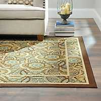 5x7 feet Jackson Blue & Brown Floral Rug
