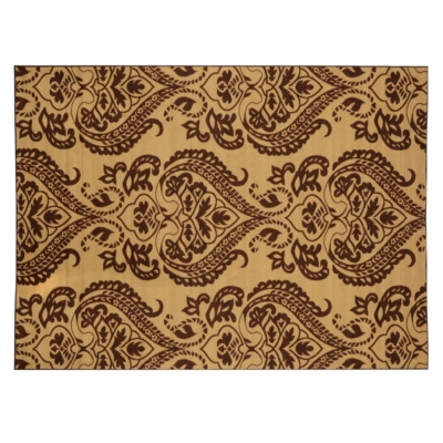 Neutral Damask Jackson Rug, 5x7