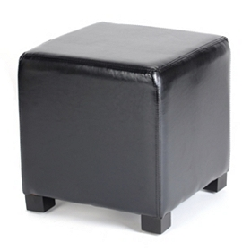 Black Faux Leather Cube Ottoman