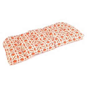 Orange Geometric Outdoor Settee Cushion
