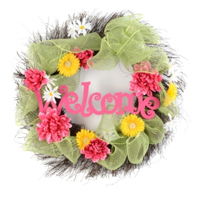 Welcome Wreath with Mesh Ribbon
