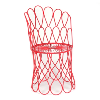 Red Metal Swirl Patio Chair