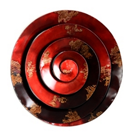 Red Spiral Metal Art