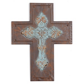 Rustic Metal Cross Plaque