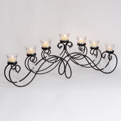 Black 7-Tealight Candle Runner