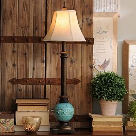 Turquoise Ceramic Buffet Lamp